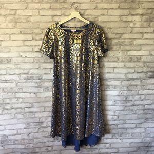 LuLaRoe Periwinkle & Gold Metallic Carly Dress